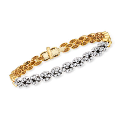 C. 1990 Vintage 1.55 ct. t.w. Diamond Bracelet in 18kt Yellow Gold