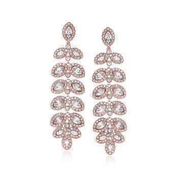 "Swarovski Crystal ""Baron"" Crystal Leaf Drop Earrings in Rose Gold Plate, , default"