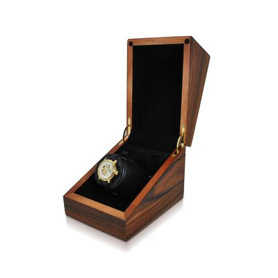 """""""Sparta Deluxe"""" Teak Finish Single Watch Winder with Cover by Orbita, , default"""