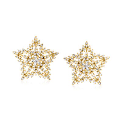 .75 ct. t.w. Diamond Star Stud Earrings in 18kt Gold Over Sterling
