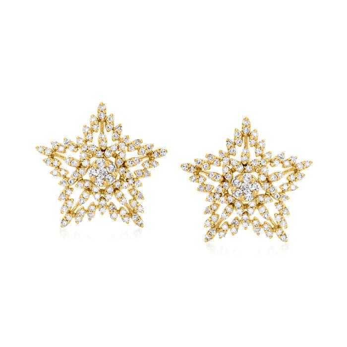 .75 ct. t.w. Diamond Star Stud Earrings in 18kt Gold Over Sterling