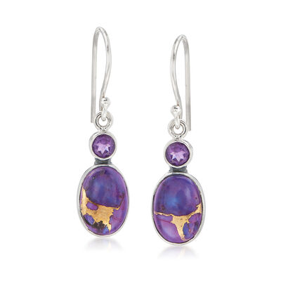 Kingman Purple Copper Turquoise and Amethyst Drop Earrings in Sterling Silver