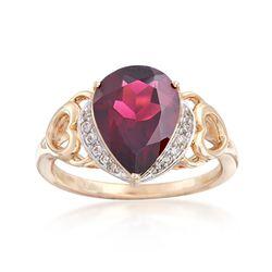 3.80 Carat Rhodolite Garnet Ring With Diamond Accents in 14kt Yellow Gold, , default