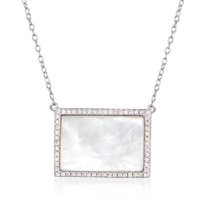 Mother-Of-Pearl and .30 ct. t.w. CZ Necklace in Sterling Silver, , default