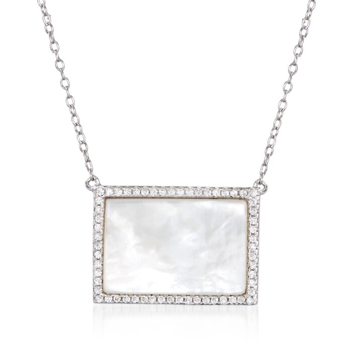"""Mother-Of-Pearl and .30 ct. t.w. CZ Necklace in Sterling Silver. 16"""""""