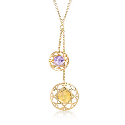 Italian 3.10 Carat Citrine and 1.60 Carat Amethyst Lariat Necklace in 18kt Gold Over Sterling, , default