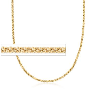 2.8mm 14kt Yellow Gold Wheat Chain Necklace