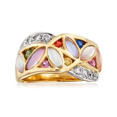 C. 1990 Vintage .36 ct. t.w. Multicolored Sapphire, Labradorite and .30 ct. t.w. Diamond Ring in 14kt Yellow Gold, , default