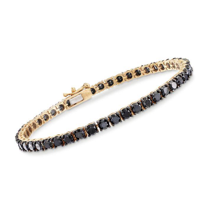 "9.00 ct. t.w. Black Diamond Tennis Bracelet in 14kt Yellow Gold. 8"", , default"