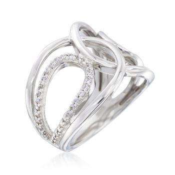 """Belle Etoile """"Onda"""" .30 ct. t.w. CZ Open Loop Ring in Sterling Silver. Size 7"""