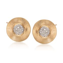 14kt Yellow Gold Wavy Disc Earrings With Diamond Accents, , default