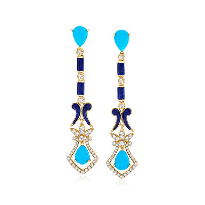 Stabilized Turquoise, Lapis and .85 ct. t.w. Diamond Drop Earrings in 18kt Yellow Gold