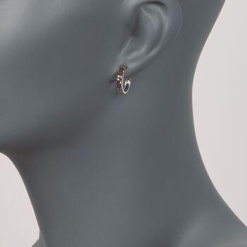 ".25 ct. t.w. Red Diamond J-Hoop Earrings in Sterling Silver. 1/2"", , default"