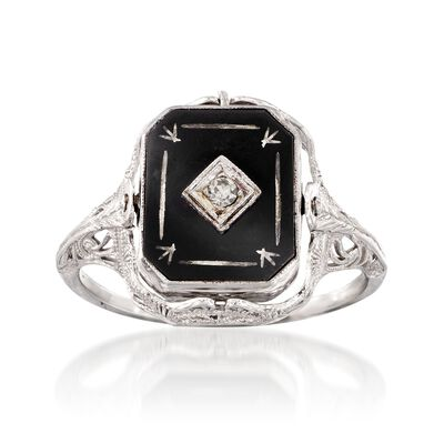 C. 1950 Vintage Black Onyx and White Agate Cameo Flip Ring with Diamond Accent in 14kt White Gold, , default