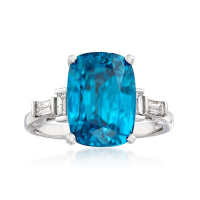 10.00 Carat Blue Zircon and .34 ct. t.w. Diamond Ring in 14kt White Gold