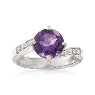 2.20 Carat Amethyst and .14 ct. t.w. White Topaz Ring in Sterling Silver, , default