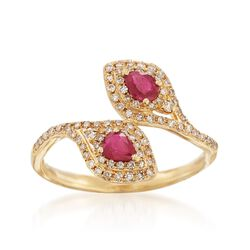 .40 ct. t.w. Ruby and .32 ct. t.w. Diamond Bypass Ring in 18kt Yellow Gold, , default
