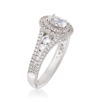 Simon G. .69 ct. t.w. Diamond Double Halo Engagement Ring Setting in 18kt White Gold, , default