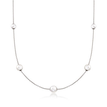 Mikimoto 7.5-5.5mm A+ Akoya Pearl Adjustable Station Necklace in 18kt White Gold, , default