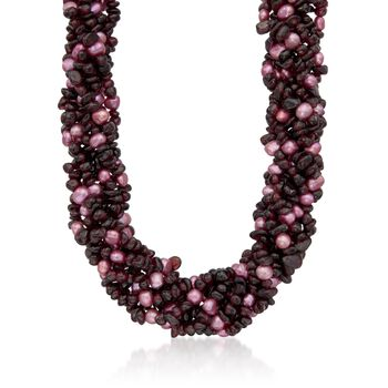 """Garnet and Pink Cultured Semi-Baroque Pearl Torsade Necklace With Sterling Silver. 18"""", , default"""