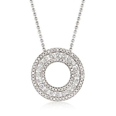 C. 1990 Vintage 1.00 ct. t.w. Diamond Circle Necklace in 14kt White Gold