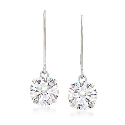 4.00 ct. t.w. CZ Drop Earrings in 14kt White Gold