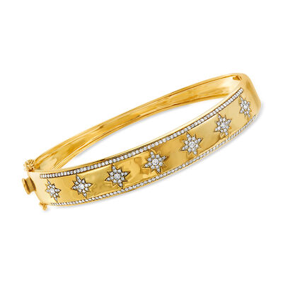 1.00 ct. t.w. Diamond Star Bangle Bracelet in 14kt Yellow Gold