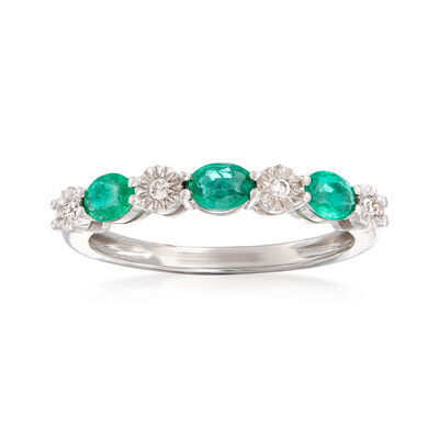 .40 ct. t.w. Emerald and Diamond-Accented Stackable Ring in 14kt White Gold, , default