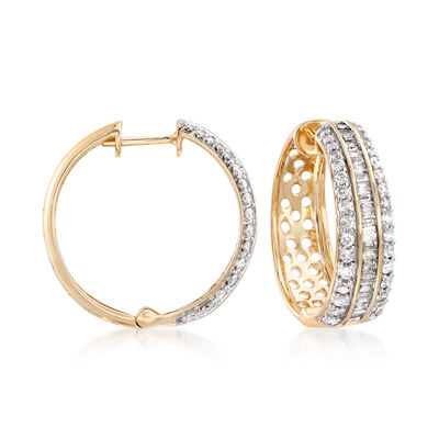 1.50 ct. t.w. Round and Baguette Diamond Hoop Earrings in 14kt Yellow Gold, , default