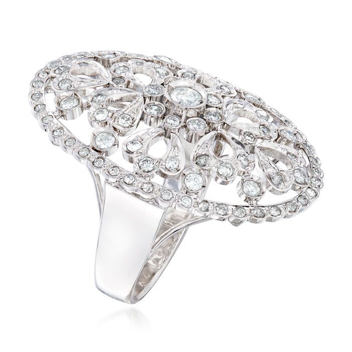 C. 1990 Vintage 1.10 ct. t.w. Diamond Cocktail Ring in 18kt White Gold