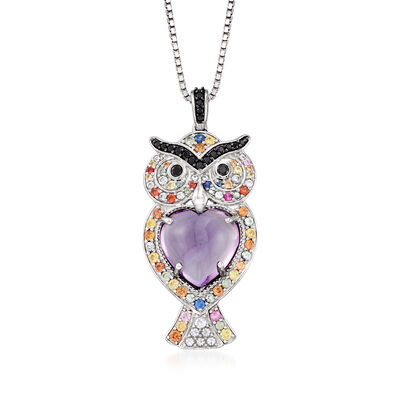7.20 ct. t.w. Multi-Gemstone Owl Pendant Necklace in Sterling Silver