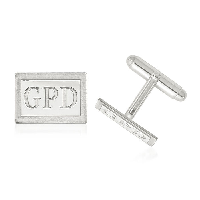 14kt White Gold Laser Recessed Letters Rectangle Monogram Cuff Links