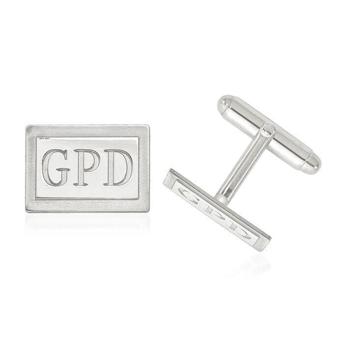 14kt White Gold Laser Recessed Letters Rectangle Monogram Cuff Links, , default