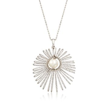 Italian 8-8.5mm Cultured Pearl Starburst Pendant Necklace in Sterling Silver, , default