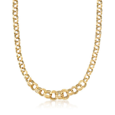 Italian Triple-Circle Link Necklace in 18kt Yellow Gold, , default