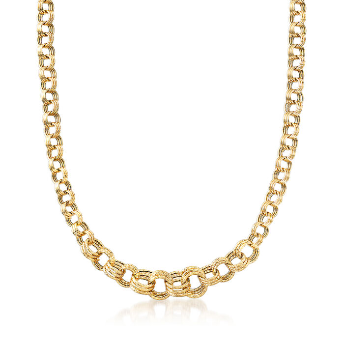 Italian Triple-Circle Link Necklace in 18kt Yellow Gold
