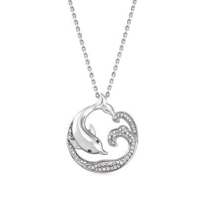 .15 ct. t.w. Diamond Dolphin Pendant Necklace in Sterling Silver, , default