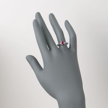 .60 Carat Ruby Ring with Diamond Accents in 14kt White Gold  , , default