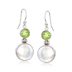 2.20 ct. t.w. Peridot and 13mm Cultured Mabe Pearl Drop Earrings in Sterling Silver, , default