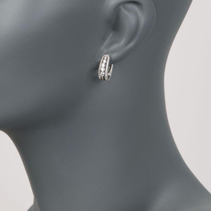 .65 ct. t.w. Diamond Hoop Earrings in 18kt White Gold