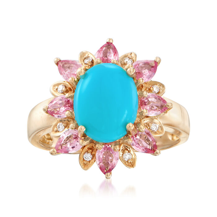 Stabilized Turquoise and 1.20 ct. t.w. Pink Sapphire Ring with Diamond Accents in 14kt Yellow Gold, , default