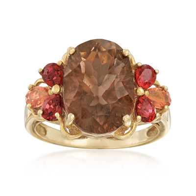 C. 1990 Vintage 5.30 Carat Smoky Quartz and 1.20 ct. t.w. Sapphire Ring in 10kt Yellow Gold, , default