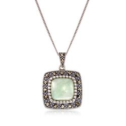 "Green Jade and Marcasite Square Pendant Necklace in Sterling Silver. 18"", , default"