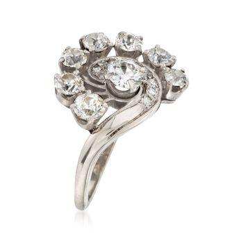 C. 1970 Vintage 2.20 ct. t.w. Diamond Swirl Ring in 14kt White Gold. Size 6.5, , default
