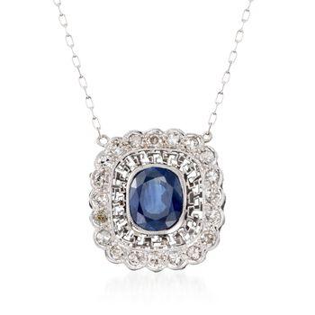 "C. 2000 Vintage 2.70 Carat Sapphire and .60 ct. t.w. Diamond Necklace in Platinum. 18"", , default"