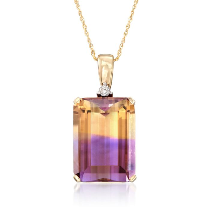 """16.00 Carat Ametrine Pendant Necklace with Diamond Accent in 14kt Yellow Gold. 18"""", , default"""