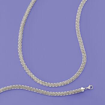 """14kt White Gold Wheat-Link Bracelet. 7"""""""