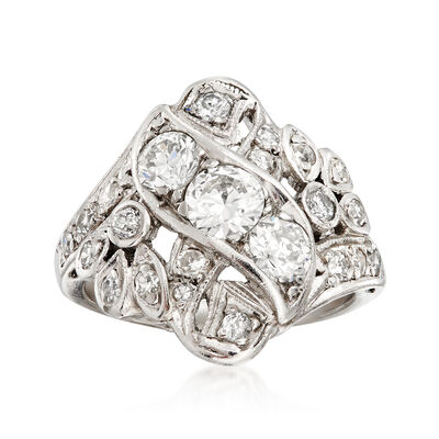 C. 1980 Vintage 1.50 ct. t.w. Diamond Cocktail Ring in Platinum, , default
