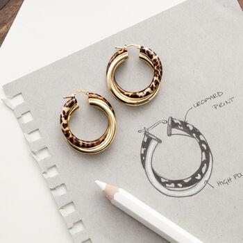 "Italian Leopard Print Enamel and 18kt Gold Over Sterling Hoop Earrings. 1 1/2"", , default"