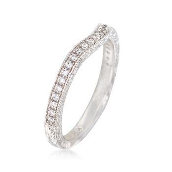 Gabriel Designs .20 ct. t.w. Diamond Curved Wedding Ring in 14kt White Gold, , default